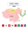 east asia map separated all countries vector image vector image
