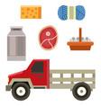 farm truck organic food design vintage agriculture vector image