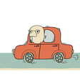 Driver man driving by car isolated on white vector image vector image