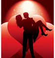 couple silhouette with hearts vector image vector image