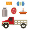 farm truck organic food design vintage agriculture vector image