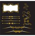 gold vintage decorations elements flourishes vector image