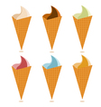 ice cream cones with different tastes set vector image