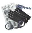 professional detective accessories for crime vector image