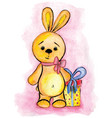 the watercolor drawing toy bunny with gift vector image
