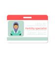 fertility medical specialist badge vector image vector image
