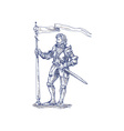 Knight standing with lance and flag vector image vector image
