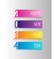 Happy New Year 2014 colorful label vector image