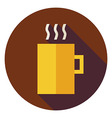 Flat Hot Drink Cup Circle Icon with Long Shadow vector image