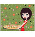 girl with pizza vector image vector image
