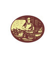 Taco Cook in Food Stall Oval Retro vector image