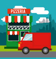 delivery pizza restaurant fast vector image