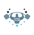 fitness club logo with silhouette athletic man vector image