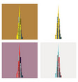 set of burj khalifa tower icon uae dubai symbol vector image