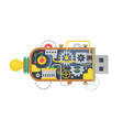 steampunk vintage usb flash drive with different vector image