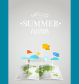 World map with different marks Summer travel vector image
