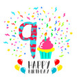 happy birthday card for 9 year kid fun party art vector image