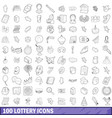 100 lottery icons set outline style vector image