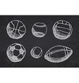 Ball sketch set with shadow on blackboard vector image