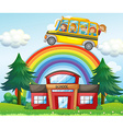 Children on school bus riding over the rainbow vector image vector image