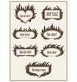 Set of burning fire frame borders vector image