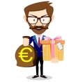 Businessman gives a gift bag with Euro vector image