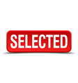 Selected red 3d square button isolated on white vector image