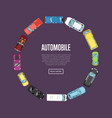 Automobile poster with top view cars vector image