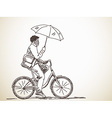 bicyclist with umbrella vector image