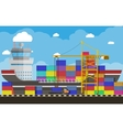 cargo ship container crane truck port logistics vector image
