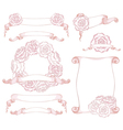 Set of design elements with roses vector image