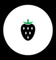 Strawberry fruit simple black and green icon eps10 vector image