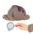 vintage detective checkered hat and fingerprint vector image