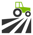 farm field with tractor flat icon vector image