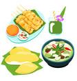 popular thai green curry food set vector image