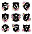 Alphabet badges a-i vector image