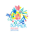 summer logo original design colorful hand drawn vector image