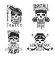 vintage sport grunge labels set with skulls vector image