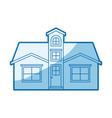 blue shading silhouette facade house with attic vector image