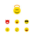 Flat icon face set of angel happy laugh and vector image