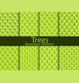 flat trees seamless pattern set vector image