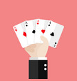 four aces playing cards in hand vector image