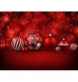Red background with christmas balls vector image