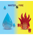 water and fire icons eps10 vector image