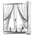 window and curtains sketch interior vector image
