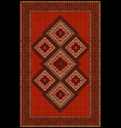 Vintage luxurious ethnic red rug with vector image
