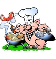 Hand-drawn of an Chef Pig standing and making BBQ vector image