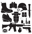equipment soldier set vector image vector image