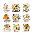 voodoo african and american magic set for label vector image