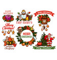 christmas holidays sketch for greeting card design vector image